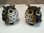 2 mini puff garden owls