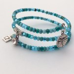 Teal Dragon Fly Memory Wire Bracelet