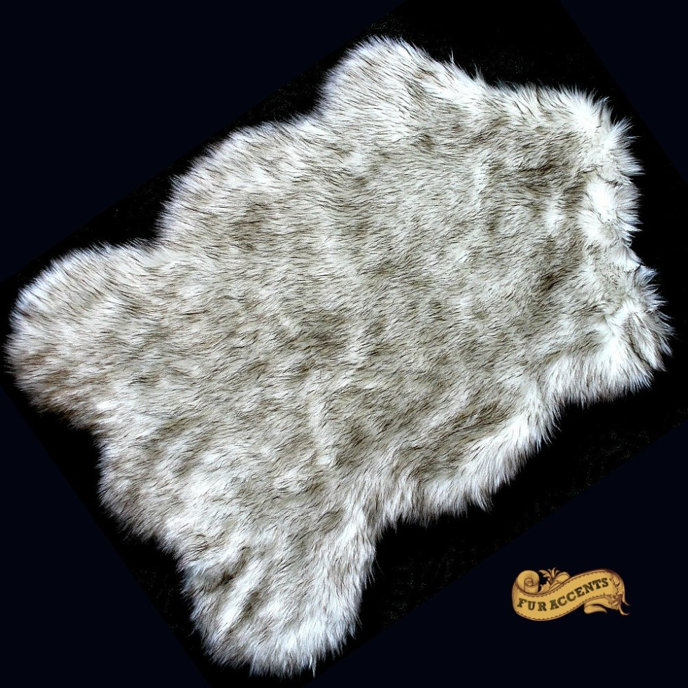 fur accents black tip russian wolf throw rug by fur accents