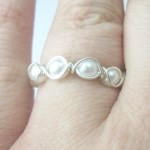 Pearl and Silver Eternity Band Ring