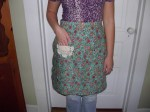 Southwest Paisley Half Apron with doily pocket